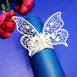 Wholesale Wedding Paper Towels - Wholesale- 50Pcs Wedding Napkin Ring Party Event Table Decoration Paper Towel Holder Wrap Supplies Hotel Home Napkins Buckles