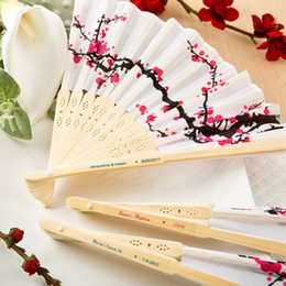 Wholesale Personalized Wedding Fans - Free Shipping 100pcs Personalized Chinese Silk Bamboo Hand Fans Cherry Blossom Fan Wedding Party Favors Bridal Shower Gifts Event Souvenirs