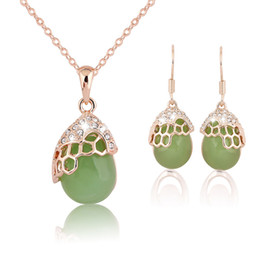 Wholesale Emerald Drops - Natureal Stone Crystal Drop Necklace earrings Jewelry Sets Gold Chain Necklaces for Women Fashion Jewelry 162056
