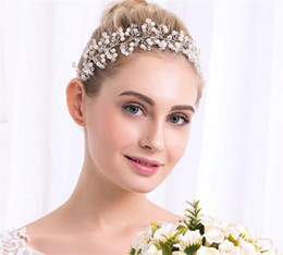 Wholesale Gold Crown Head Band - Vintage Wedding Bridal Pearl Headband Hair Head Band Ribbon Crystal Rhinestone Crown Tiara Princess Queen Headdress Silver Jewelry Wholesale