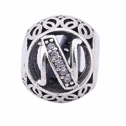 Wholesale N 925 - Popular Real 925 Sterling Silver Letter N Beads Fit European Brand Bracelets 2017 Europe Fashion Silver Beads DIY Jewelry Accessories BF047