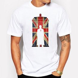 Wholesale Uk T Shirt Printing - Camping & Hiking T-Shirts T shirts summer Dr Doctor Who T-shirt men Phone Box UK flag Printed White Fitness Funny Hipster tee shirt homme