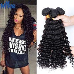 Wholesale Per Hair Bundles - MikeHAIR Brazilian Human Hair Wefts 3 Bundles per lot Natural Color Unprocessed Malaysian Indian Peruvian Brazilian Curly Bundles Hair Weave