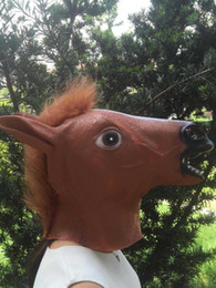 Wholesale Horse Mask Cheap - 3colors New Cheap Price Creepy Horse Mask Head Halloween Costume Theater Prop Novelty Hot Sales Head Latex Rubber Party Masks Free Shipping