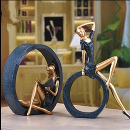 Wholesale Elegant Living Room Sets - 1 set 2 pcs Resin Elegant Reading Girl Sculpture Statue Figurine Reader Ornament Home Wine Cabinet Living Room Decoration