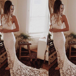 Wholesale Unique Brides - Unique Reception Dresses for Bride High Neck Full Lace Bohemian Beach Wedding Dress Court Train Mermaid Boho Bridal Gowns Cheap