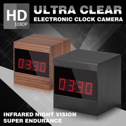 Wholesale Hd Cam Alarm - HD Electronic clock spy camera 1080P IR Night Vision Remote Control Alarm ClockCamera for home security with motion detection A10 clock cam