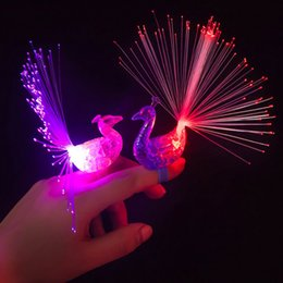 Wholesale Colour Flash - Wholesale-2016 New Creative LED Flash peacock finger lights kids like 7 luminous colour rings children gift toys Halloween Bar Party toy