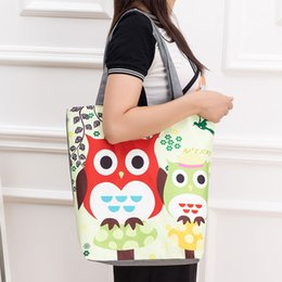 Wholesale Owl Single Shoulder Handbag - Floral And Owl Printed Women Casual Tote Female Daily Use Female Shopping Bag Ladies Single Shoulder Handbag Simple Beach Bag