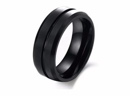 comfort fit rings Promo Codes - 8mm Black Men Tungsten Carbide Ring Wedding Engagement Band Promise Rings Comfort Fit High Quality men jewelry US Sizes 7-12