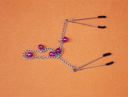 Wholesale Bell Sex Toys - HE009 Adult Game Adjustable Breast Clamps Link Chain and Colourful Bells metal long Chain nipple clamps sex toys Nipple clips