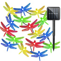 Wholesale Led Christmas Lights Dragonfly - Outdoor Solar Led String light 5M 20 Led dragonfly solar panel strip light IP65 Waterproof Garden Christmas Party decoration
