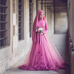 Wholesale Simple Wedding Dress Muslim Woman - Turkish Traditional Formal Bridal Gowns Long Sleeve 3D Floral Beaded Muslim Wedding Dresses Islamic Kaftan Dubai Arabic Women Party Gown