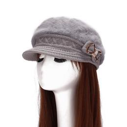 Wholesale Pink Hair Berets - Wholesale-Rabbit's Hair Beret Winter Women's Knit Beanie Hat Cap