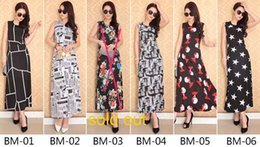 Wholesale Sleeveless Vests Summer Ladies - Summer New Arrival Bohemia Dresses For Womens Lady Plus Size Beach Dress Sleeveless Vest Long Dresses