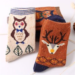 Wholesale Thermal Socks For Women - Wholesale-vintage deer rabbit wool socks for women autumn winter thicken warm thermal cute cat cartoon animals pattern retro cotton socks
