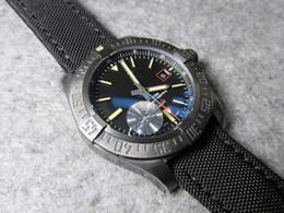 Correas de titanio online-GF 44mm AVENGER BLACKBIRD V17311 V1731110 automático 2824-2 cristal de zafiro titanio reloj para hombre reloj de pulsera cronógrafo correa de lona militar