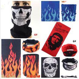 Wholesale Pirate Skull Mask - 100pcs bike motorcycle helmet face mask half skull mask CS Headwear Neck cycling pirate headband hat cap halloween mask pirate kerchief M065