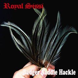 Wholesale Rooster Set - Hot 30pcs set natural color badger saddle hackle feathers border rooster hackle woolly ber hair fly fishing tying materials