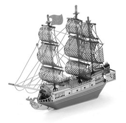 Wholesale Toy Black Pearl Ship - 3D Metal Puzzle DIY Model Gift World Ship Titanic Caribbean Black Pearl Educational Jigsaws Toys For Kids Adult