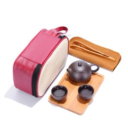 Wholesale Kung Fu Bags - Creative travel bag portable Ding Kung Fu Tea outdoor tourism office dry bamboo tea tray bubble suit