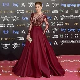 Wholesale Sexy Gorgeous Evening Dress Cheap - Gorgeous Zuhair Murad Burgundy Long Evening Dresses 2017 Sheer Neck See Through Red Carpet Purple Prom Party Gowns Robe de Soiree Cheap