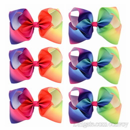 Wholesale Girls Flower Clips - Girls 8 Inch Large Rainbow Grosgrain Ribbon Bow Clips Hairpins Bubble Flower Bow Barrettes Kids Hair Clip Boutique Hair Accessories KFJ44