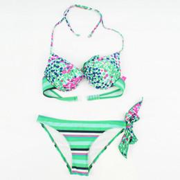 Wholesale Cheap Two Piece Swimsuits - 2017 New Polka Dot Swimwear Two Pieces Wtripe Bikini Women Sexy Swimsuit Two-piece Purple Bikinis Green Swim Suits Wholesale Cheap