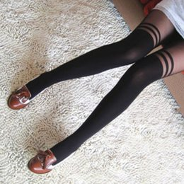 Wholesale Socks Temptation - Wholesale- Women Sexy Tights Black Women Sexy Black Pantyhose Temptation Sheer Mock Over knee Socks Stripe Velvet Tights Girls Stockings