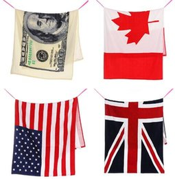 Wholesale Fitness Bath - 4 color 75*140CM USA UK flag EUROS Unisex Cotton Stripe Printed Beah bathing towel Shower Gym Fitness For Independence Day