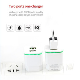 Wholesale Ipad Charger 1a Travel - Hot sale LED Lighting USB charger adapter 2 USB ports 5V 2.1A & 1A cell phone travel wall chargers for samsung iphone sony ipad