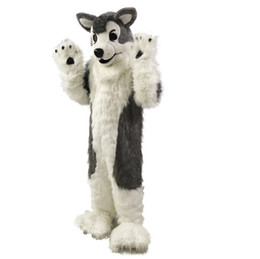 Wholesale Grey Dog Costume - Gray Wolf Husky dog Mascot Costumes Cartoon Character Adult Sz 100% Real Picture