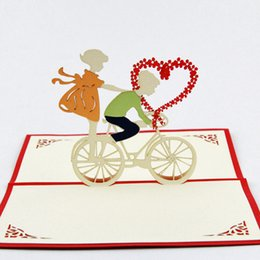 Wholesale Pop Up Love Cards - Wholesale- Love bicycle heart pop up card   handmade 3d love card Free shipping
