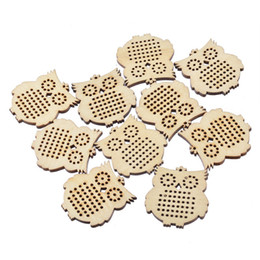 Wholesale Diy Sew Stones - Wholesale- New Design 10PCs Animal Owl Wooden Pendants For DIY Sewing Crafts Multi-Hole Charms For Making Necklace Jewelry 44.5x41.5mm