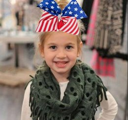 Wholesale Large Red Bows For Hair - NEW ARRIVAL 8inch JoJo Siwa Hair Bow 4th of July Large Stars Dance Cheerleader Paegant for teen girls Hair accessories 20pcs
