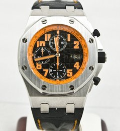 Wholesale Volcano Battery - New Unworn 42mm Offshore Chronograph Volcano Quartz Mens Casual Watch Top Quality Black Leather Strap Mens Wrist Watches