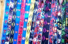 Wholesale Iron Keyring - New Mix Style Super Hero Lanyard NEW Keyring ID Holder Phone Strap Spiderman Superman Avengers