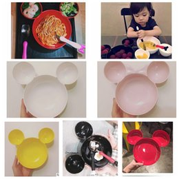 Wholesale Eating Dishes - Baby Kids Mouse Seperate Plate Divided Dish INS Kids Feeding Eating Food Tableware baby Minnie Sectioned Plate LJJK568