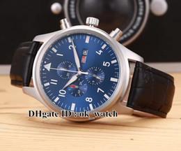 Wholesale New Gent - High quality Luxury Brand Montre d'Aviateur Quartz Chronograph IW377714 Mens Watch 43mm Blue Dial New Gents cheap Sport Watch Leather strap