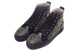 Wholesale Leopard Spike Shoes - Luxury Brand Red Bottom Sneakers Black Gold Golden Suede with Spikes Black Skin Leopard Grain Trichromatic Nail Casual Mens Womens Shoes