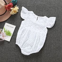 Wholesale Summer Baby Girls Clothing - 6 sets lot!2017 New summer infant baby girls embroidery romper jumpsuits clothing set white fashion cotton romper diaper bodysuit