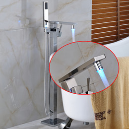 Wholesale Floor Mount Tub Filler Chrome - New Modern Chrome With LED Color Waterfall Spout Bathroom Tub Faucet Free Standing Square Tub Filler W  Handheld Sprayer Floor Mounted
