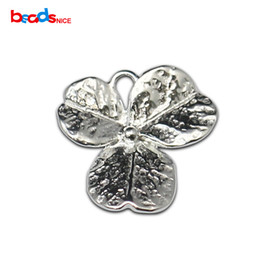 Wholesale Silver Leaf Connector - 925 Silver Charm Flower Connector Leaf Flower Sterling Silver Pendant for Necklace or Bracelet Handmade Jewelry Findings ID36299
