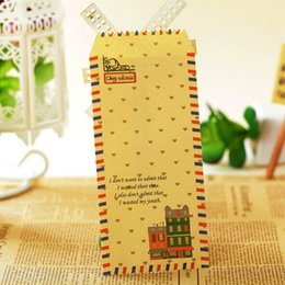 Wholesale Paper Stationery For Children - Wholesale- 25 pieces lot Cute Cartoon Kawaii Kraft Paper Postal Envelope for Gift Children Korean Stationery 03207