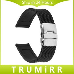 Wholesale Buckle Lock For Strap - Wholesale- 24mm Silicone Rubber Watchband for Sony Smartwatch 2 SW2 Replacement Watch Band Strap Stainless Steel Buckle Bracelet with Lock