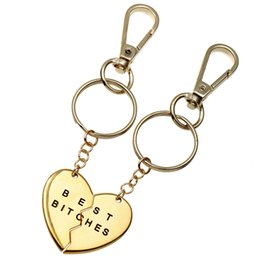 Wholesale Cross Stitch Holder - Keychain men and women in Europe and the United States two stitching couples heart-shaped metal keychain