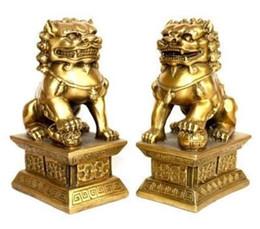 Wholesale Brass Dog Statue - pair of tibet brass statue foo dogs Lions