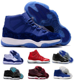 Wholesale Black Red 11s - New Retro 11 Basketball Shoes Women Men Retros Space Jam 11s XI 72 Bred Blue Velvet Heiress Femme Athletics Original Sport Sneaker