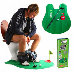 Wholesale Golf Toys - 56lot 6pcs lot EMS Mini Bathroom Toilet Golf Mat Balls Set a Perfect Putting Game Potty Putter Golf Trainer Fun Game Decompression Toy