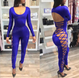 Wholesale Summer Rompers For Women - 2017 summer style lace up sexy club party jumpsuit plus size S-XL skinny jumpsuits and rompers for women
